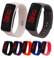 Wholesale jelly watch unisex - Hot wholesale New Fashion Sport LED Watches Candy Jelly men women Silicone Rubber Touch Screen Digital Watches Bracelet Wrist watch