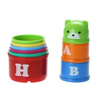 Wholesale cup stacks resale online - Baby Letters Folding Cup Bath Toy Stacking Pile Up Tower Count Cups Children Kids Early Intelligence Development Toys
