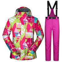 traje de esqui pantalones de mujer al por mayor-Dropshipping impermeable Sportwear snow jacket y pantalones traje Mujeres Invierno esquí desgaste Top con capucha chaqueta pantalones de la correa traje de esquí femenino
