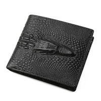 Wholesale Crocodile Leather Card Holder - New Fashion Casual Business Men's Short Leather Wallet Designer Brand European And American Style Crocodile Head Wallet Credit Card Wallet