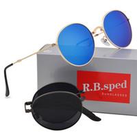 gafas de sol polarizadas para hombre al por mayor-Diseñador de la marca Unisex gafas de sol polarizadas plegables para hombres mujeres Gafas Steampunk Clásicas gafas plegables para hombre con estuches marrones gratuitos