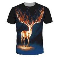 erkekler ateş ediyor toptan satış-Fantastik 3D Geyik Yangın Boynuz T-Shirt Gotik Tarzı Spor t-shirt Yaz Harajuku Üstleri Moda Artı Boyutu Streetwear Erkek Tişörtleri