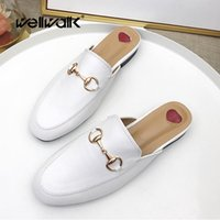 женщины плоские ботинки оптовых-Женская мода Mules Lady Half тапочки 2018 Lady Flat Mule Square Toe Shoes Повседневная летняя женская тапочка Обувь высокого качества