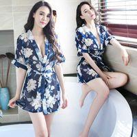 61def3065 Frete Grátis New sexy lingerie cosplay Sexy Chiffon Lingerie Mulheres  Tentação Plus Size Pijama Transparente Impressão Kimono Camisola Roupão de  banho
