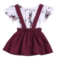 комплект детской одежды оптовых-Puseky Infant Baby Kids Ruffles Short Sleeve Cotton Floral Tops Romper Suspender Dress Overalls Outfits Newborn Girls Cloth Set