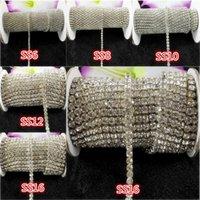 белые стразы оптовых-10yards / рулон ss6-ss18 прозрачный белый стразы хрустальное стекло горный хрусталь цепи компактный серебряная цепь для телефона, чашки, мыши, аппликации