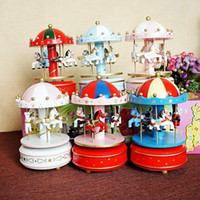 Wholesale revolving lights resale online - Factory direct new dome revolving wooden horse Music Box Pink fine gift color optional