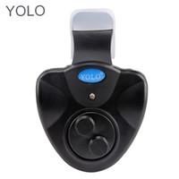 trípode plegable al por mayor-Alarma electrónica de la mordedura de la pesca de YOLO Luz LED Alarma acústica inalámbrica de la alarma con la alarma ruidosa y la linterna brillante del LED
