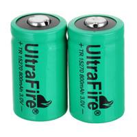hacer batería recargable al por mayor-UltraFire 3V CR2 15270 CR2 800mah batería recargable de litio cámara digital hizo una batería especial verde