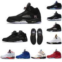 marca de zapatos v al por mayor-PSG X PAIRS V Air Marca jumpman 5s Hombres zapatos de baloncesto 5s Pelea internacional Black Grape Cemento blanco para hombre zapato diseñador zapatillas de deporte zapatillas de deporte