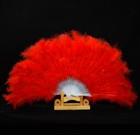 Wholesale fancy folded hand fans for sale - Group buy Showgirl Feather Fans Folding Dance Hand Fan Fancy Costumes For Women Wedding Party Supplies Colors fast shipping SN1917