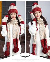 wholesale Hat scarf glove three-piece female winter student han version of the lovely autumn winter extra thick wool hat Christmas present