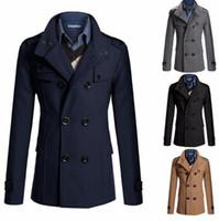 Wholesale long camel coat men - Slim Fit Long Coat Warm Double Breasted Peacoat Coat Jacket - Black Gray Navy Camel M-XXL