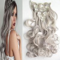 Wholesale hair extensions clips curl for sale - Group buy Length cm g set quot Silver Gray Hair Extensions Synthetic Clip In Hair Extensions Curly Wavy Synthetic Hair Extensions