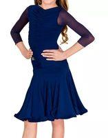 vestir salsa infantil al por mayor-Vestido de baile latino para niñas de manga larga de malla vestidos de baile estándar para los niños usan ropa de salsa