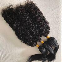 Wholesale braid in' bundles online - Raw Indian Virgin Hair Weaves Water Wave Straight Braid in Human Hair Bundles No Tangle FDshine