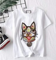 Wholesale dog christmas shirts - Branded Children Dog Head Applique White Cotton Jersey T-shirt Designer Boy Girl Round Neck Short Sleeves T-shirt Embedried Size110-150