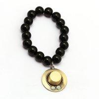 ingrosso braccialetti di onice neri per le donne-Anime ONE PIECE Bracciali Ace Hat Charm Handmade Natural Black Onyx Bracciale Uomo Donna Bracciale Accessori gioielli