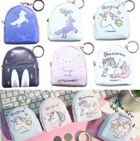 Wholesale Wholesale Mini Backpack Purse - 16 Colors Unicorn Coin Purse Pouch Mini Backpack Bag PU Leather Keychain Pouch Wallets Top EEA316 500PCS