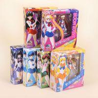 Wholesale venus figure - PVC Sailor Moon Mars Venus Mercury Jupiter Saturn Uranus Neptune Nine Style Action Figure Model Dolls For Kids Toys 41yh UU