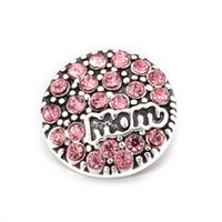 Wholesale snap buttons mom resale online - New pink mom crystal metal mm snap button snap button fit bracelet jewelry accessories DX818