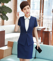 Wholesale short suits for ladies - New Styles 2018 Summer Short Sleeve Formal Women Business Suits With Tops And Skirt For Ladies Career Interview Job Blazers