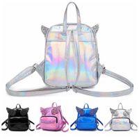 Wholesale kawaii backpacks - 4styles Laser Sequin Wings Backpack Cartoon Kawaii angel Student School Bag Travel Shoulders Bag outdoor Handbag FFA452