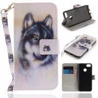 monedero billetero búho al por mayor-Flip Wallet Case para Huawei Enjoy 7 / P9 Lite Mini casos Coque Wolf Owl Tiger Lion Bolsos de teléfono de cuero pintado accesorios Cubierta