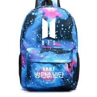 рюкзаки рюкзаки девушки оптовых-BTS Backpack Galaxy Stars Printing Canvas Bag Rucksack For Young Teenage Girls School Bag Travel Bags Korean