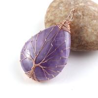 colgantes de oro envueltos en alambre al por mayor-Kraft-beads Summer Style Rose Gold Color Natural Purple Stone Tree Life Wire Wrapped Water Drop Colgante Amethysts Joyería