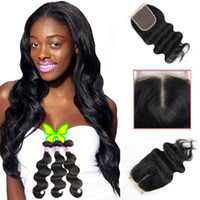 Wholesale human hair bundle sales for sale - Group buy 8A Body Wave Brazilian Virgin Hair Human Hair Bundles with Top Lace Closure Unprocesssed Hair Extensions Natural Black Sale by Bemiss