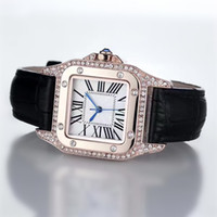 beste uhren marke für frauen großhandel-2017 Fashion Luxury Uhren Unisex Frauen Männer Uhr Platz Diamanten Lünette Lederband Top-marke Quarz Armbanduhren für Männer Dame Beste Geschenk