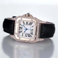 ingrosso la migliore marca orologi per le donne-2017 orologi di moda di lusso unisex donna uomo orologio quadrato diamanti cinturino in pelle top brand quarzo orologi da polso per gli uomini signora migliore regalo