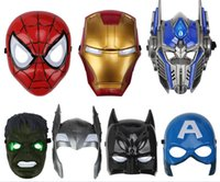 juguete de cara de hombre de hierro al por mayor-Juego Juguete Máscaras LED para niños Animación Dibujos animados Spiderman Iron Man Transformers Máscara de luz Mascarada Máscaras faciales Disfraces de Halloween Fiesta