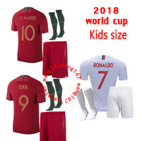 jerseys portugal al por mayor-kits para niños + camisetas de fútbol para calcetines QUARESMA 2018 Ronaldo Portugal World Cup DANILO PEPE NANI Camisetas Maillot de futol Camisetas de fútbol