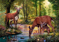 Wholesale Deer Canvas - Diy diamond painting cross stitch kit rhinestone full round diamond embroidery animal Sika deer forest lake home mosaic decoration yx4042