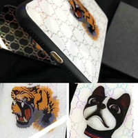 Wholesale purple head phones - For iPhone X case laser tiger head dog tempered glass phone case for iphone 7 7plus 8 8plus 6 6plus luxury brand