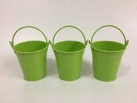 ingrosso mini vaschette verdi-Carino ferro scatola fioriere fioriera verde chiaro uovo pentole partito favore titolare mini secchi SF-018G