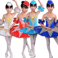 Wholesale kids ballroom dance costumes - Colors Kids Sequined Swan Lake dress Ballet Tutu Dancing dress Girls Ballroom Party Dance ware Costumes dress Outfits 110-160