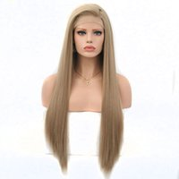 perruque longue cheveux lisses 34 achat en gros de-Longs soyeux synthétiques avant de lacet perruques blond brun clair résistant à la chaleur cheveux de fibre pour les femmes blanches