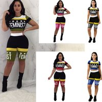 Wholesale girls star leggings - Feminist letter Patchwork Print tracksuit Shorts Suit Sexy Star Short Sleeve T shirt Crop Top + Skinny Short Pants Tights leggings Outfit
