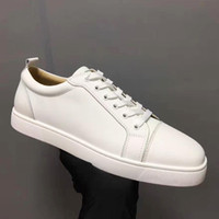Wholesale open shoes canvas for men online - Mens Designer Shoes Designer Sneakers low cut Spikes Flats shoes Red Bottom For Men and Women Leather Sneakers Party Designer shoes