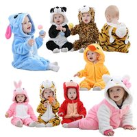 пижамная пижама panda оптовых-Baby costume animal rompers unisex pajamas baby boys girls clothes panda cute newborn Jumpsuit roupa de navidad macacao