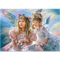 ingrosso kit di pittura unici-Dipinti ad olio Frameless Angel Girls Fai da te Pittura By Numbers Figure Painting Acrylic Picture Kits Paint By Numbers Regalo unico per opere murarie