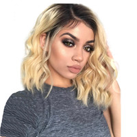 Wholesale brazilian human hair wigs resale online - LIN MAN Short Wavy Brazilian remy Human Hair Lace Front Wig Ombre blond B Bob Cut Lace Wig Pre Plucked Baby Hair