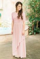 gül kurusu toptan satış-2018 Ucuz Şifon Yarım Kollu Ülke Düğün Nedime Elbiseler Gül Tozlu Dantel Gelinlik Modelleri Balo Parti Elbiseler