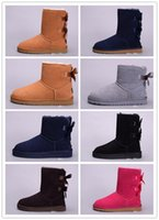 mavi çizmeler toptan satış-2018 Yüksek Kalite Yeni WGG kadın Avustralya Klasik diz Çizmeler Ayak Bileği çizmeler Siyah Gri kestane lacivert Kadınlar kız çizmeler ABD 5--10