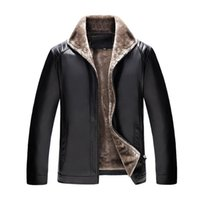 Wholesale Leather Jackets Wool Lining - New product 2017 Business casual Winter Very warm Thick Faux Fur Leather Jacket Faux Leather Coat Plus Size flocking Zipper coat