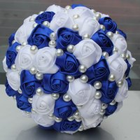 Wholesale artificial pearl flower online - Pop New Royal Blue White Color Pearls Beaded Artificial Bridal Wedding Bouquets Simple Durable Half Ball Bow Stitch Holding Flowers W322