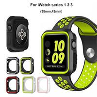 bandas protectoras de reloj de manzana al por mayor-5 colores para la serie iWatch 1 2 3 Funda de silicona correa deportiva correa cubierta protectora para Apple Watch 38 mm 42 mm